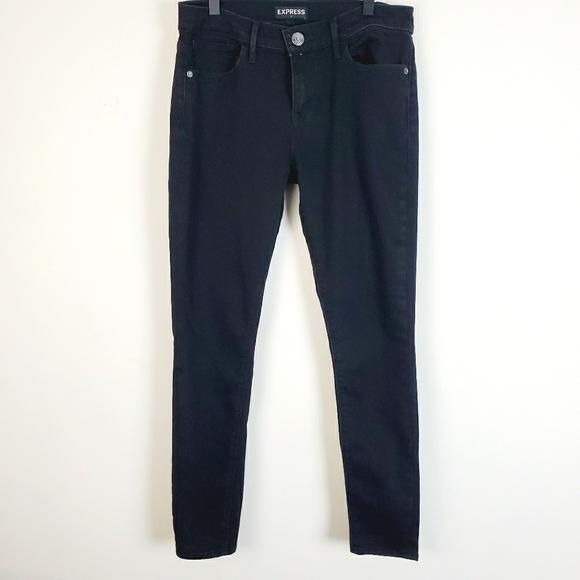 Express Black Mid Rise Skinny Jeans